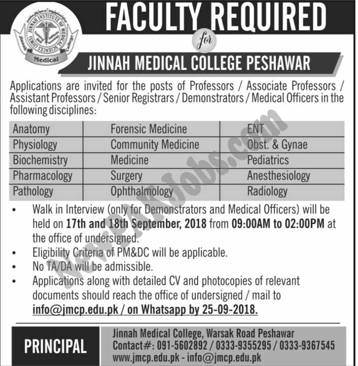 New Jobs Vacancies in Jinnah Medical College Peshawar