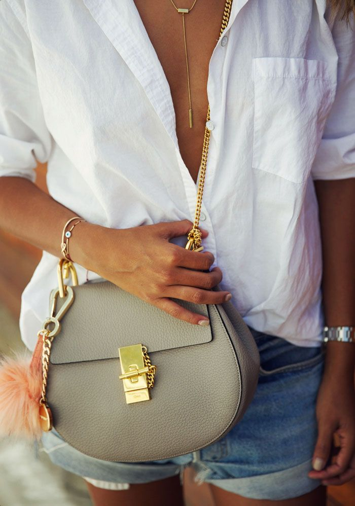 Sincerely Jules - White Button Down + Chloe Drew Bag