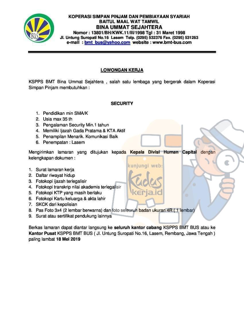 Lowongan Kerja Rembang Security di KSP Bina Ummat Sejahtera