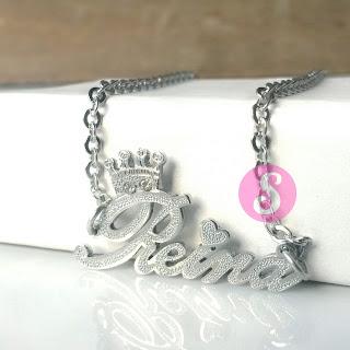 kalung nama monel silver grafir - reina