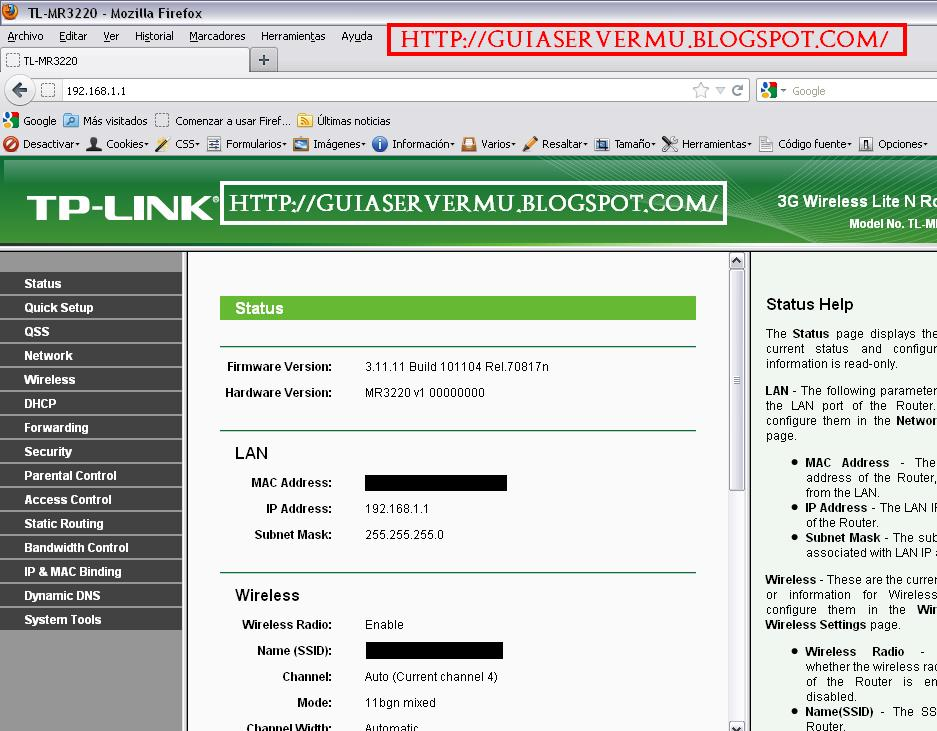 Interfaz del panel del router Tplink
