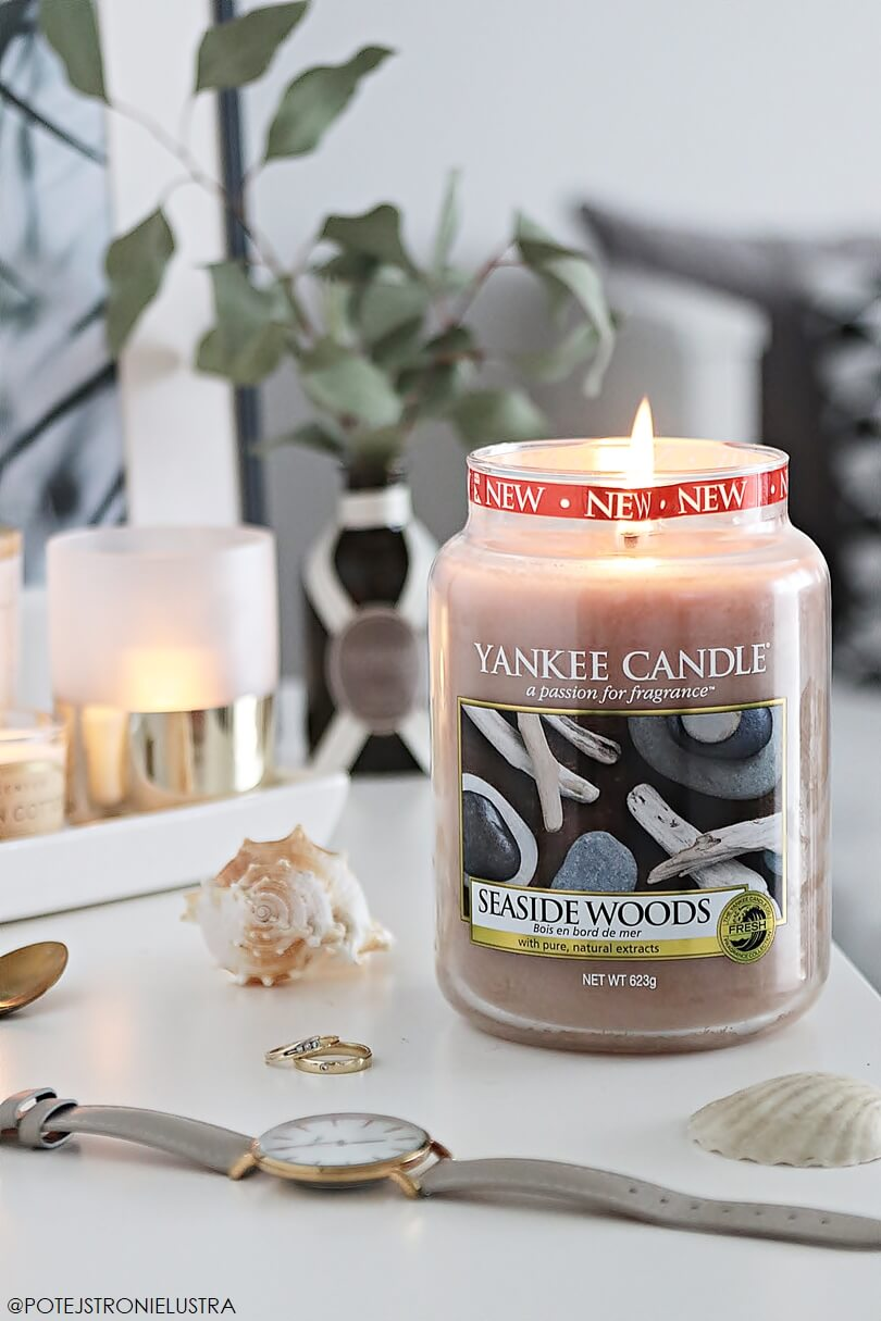 duża świeca yankee candle seaside woods recenzja na blogu