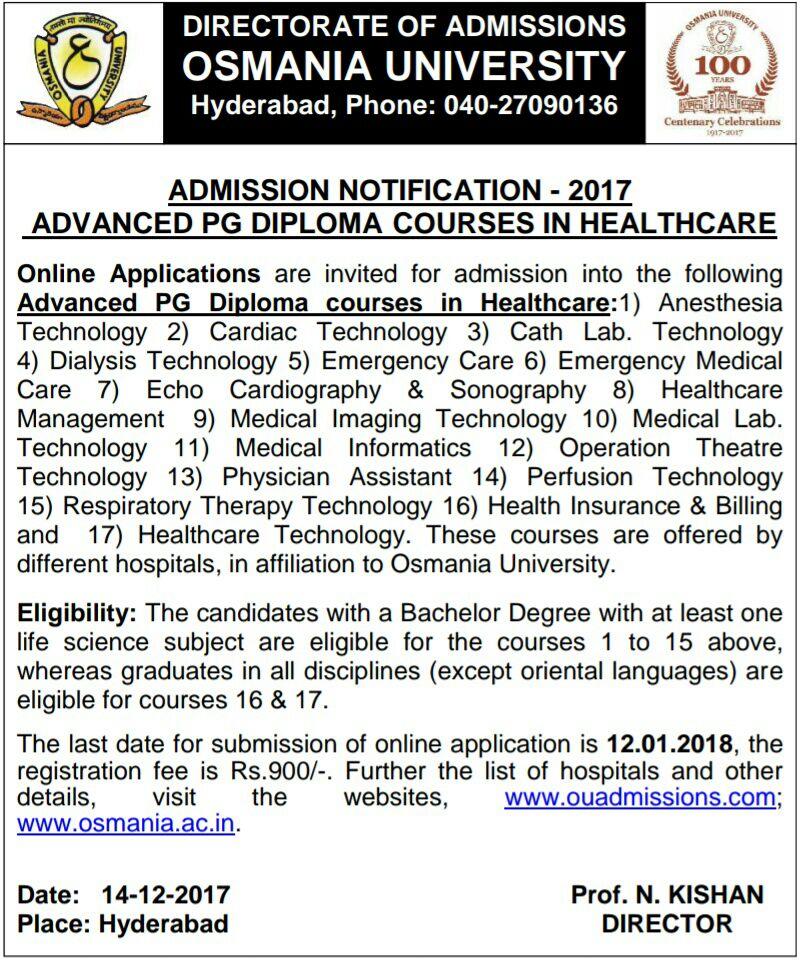 OU  PG Diploma Courses in Health Care Admissions 2018 Application Last date 12-01-2018