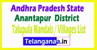Talupula Mandal Villages Codes Anantapur District Andhra Pradesh State India