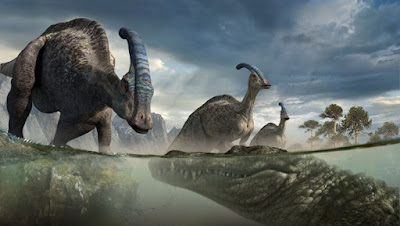 Prehistoric Crocodile eats Dinosaurs