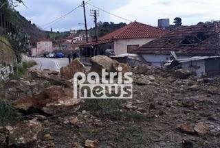 Ηλεία: Σοβαρές κατολισθήσεις από την κακοκαιρία στο Λέπρεο – Ολόκληροι βράχοι αποκολλήθηκαν και κατέστρεψαν σπίτι (ΦΩΤΟ)