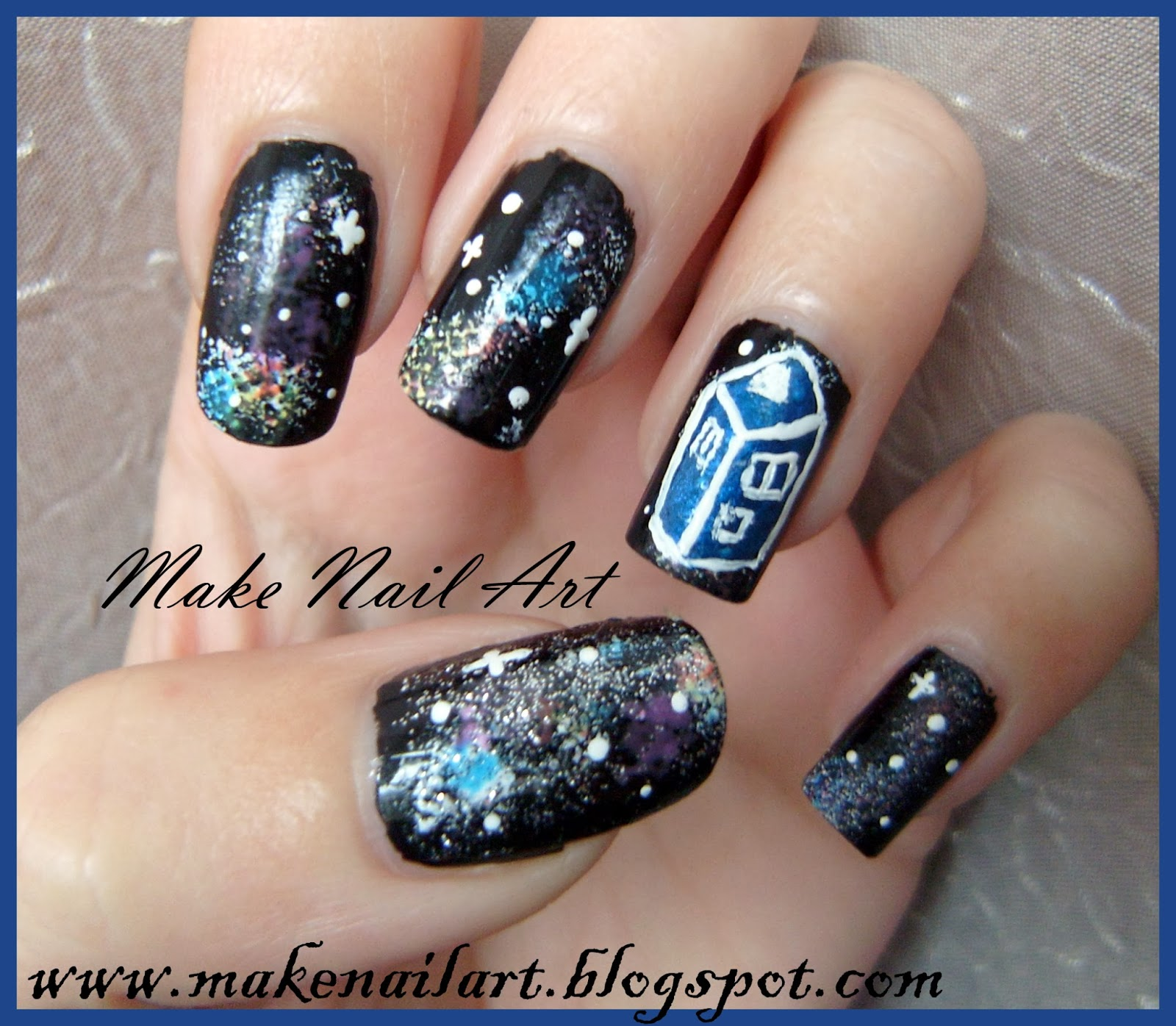 Make Nail Art Doctor Who Tardis Nail Art Tutorial