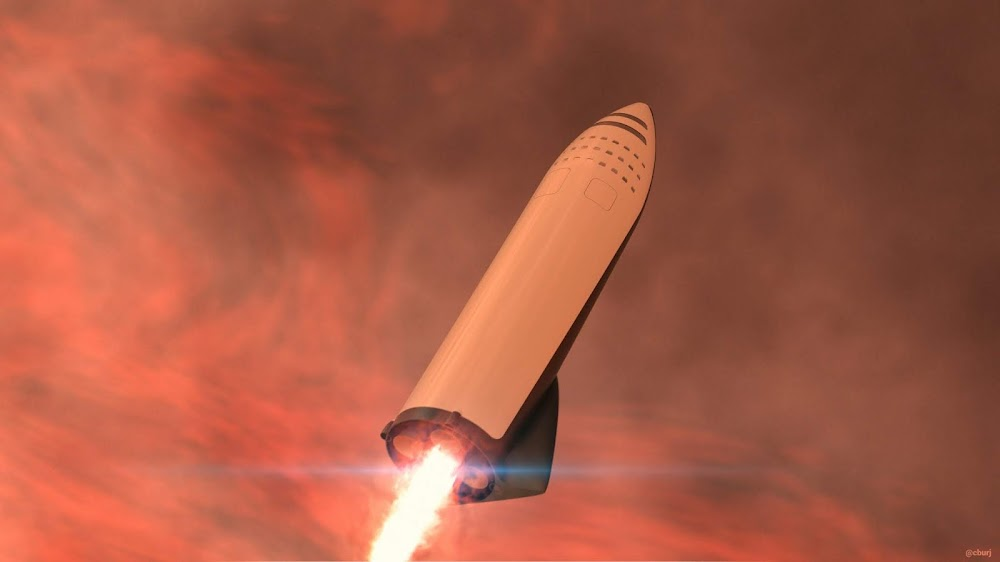 Landing burn of SpaceX BFR spaceship