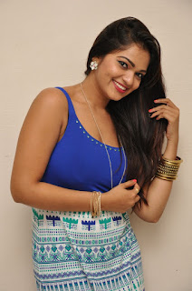 Ashwini in a Deep Neck Sleevelss Blue Top and Skirt at Ameerpet Lo Movie Audio Press Meet