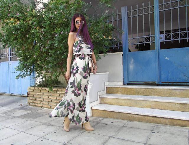 purple hair fashion blogger