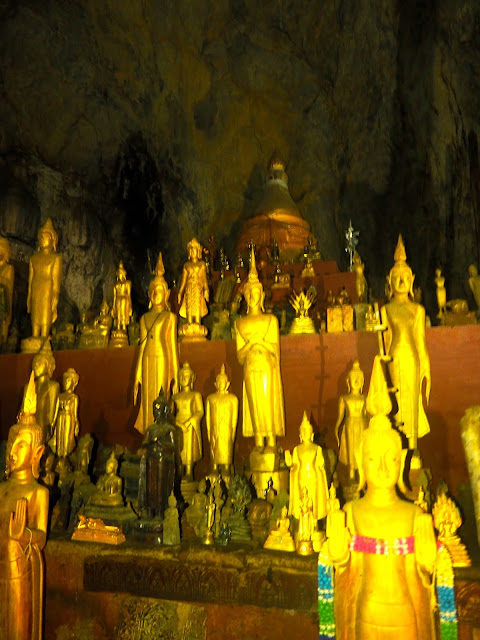 Buddha cave on shores of Mekong River, Laos