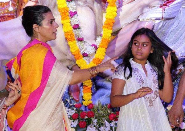 Kajol & her Son-daughter in durga puja