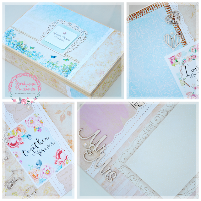 album romantyczny ślubny z drewnianym pudełkiem