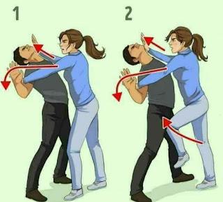 Bila pelaku memeluk kamu dari belakang, menunduklah dan cari kaki kanan pelaku. Kemudian, tarik ke depan hingga pelaku terjungkal.