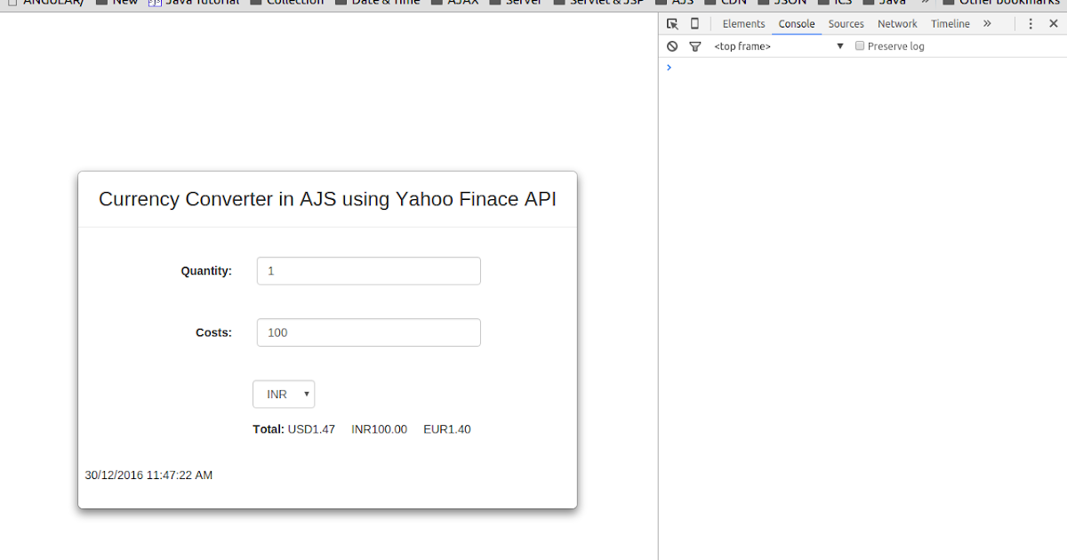 Java Script Jquery Mysql Data Real Time Currency Converter In Angularjs Using Yahoo Finance Api