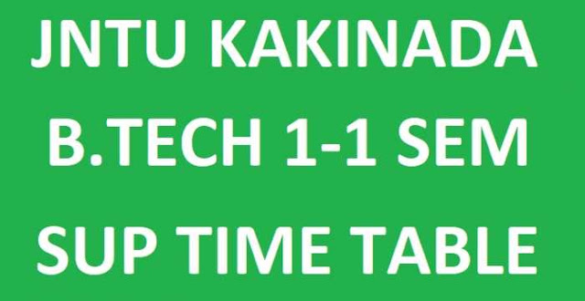 JNTUK B.Tech 1-1 Sem Supply Exam Time Tables