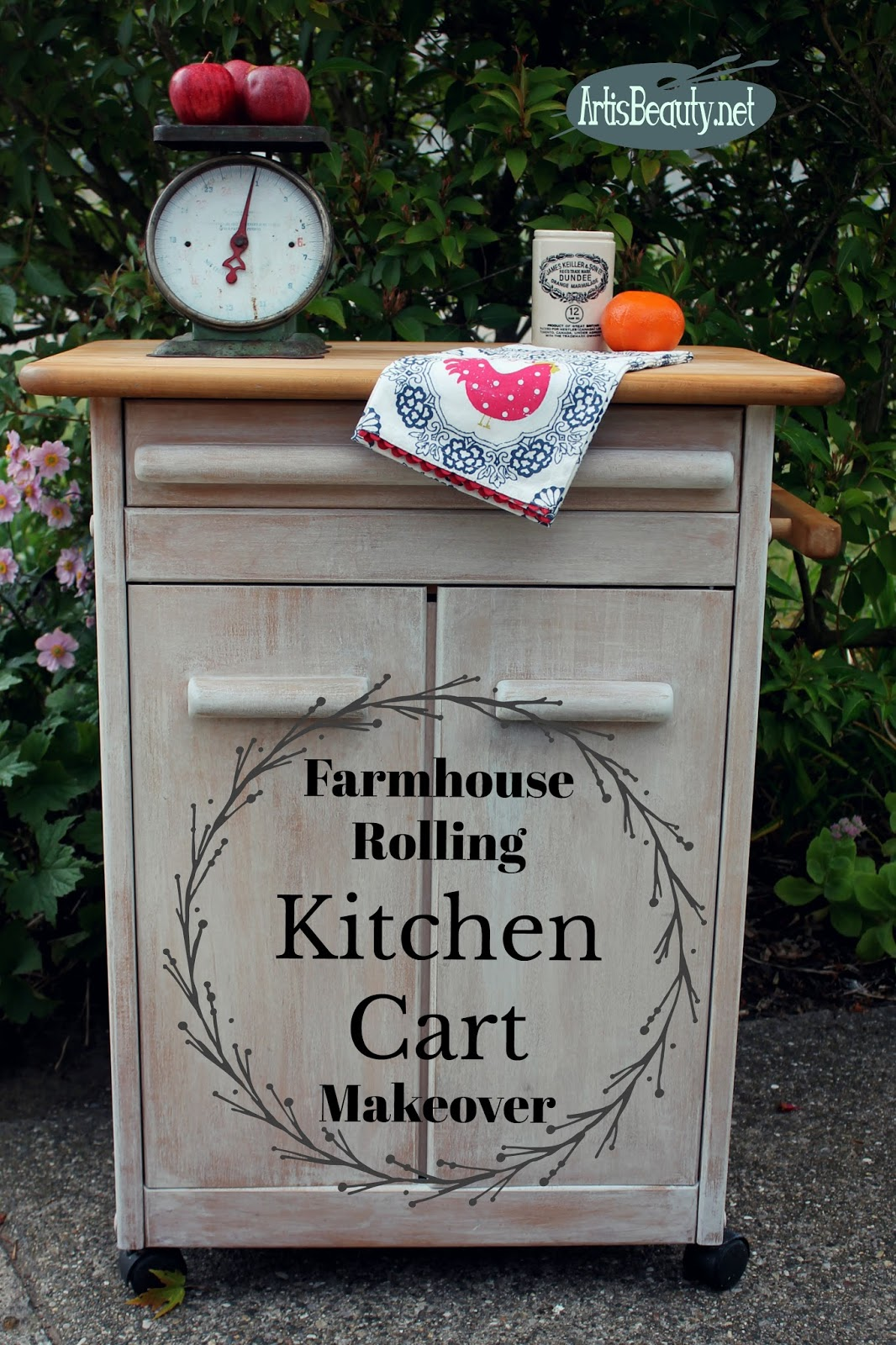 Fresh farmhouse Rolling Kitchen Cart makeover vintage effects paint wash farmhouse style diy