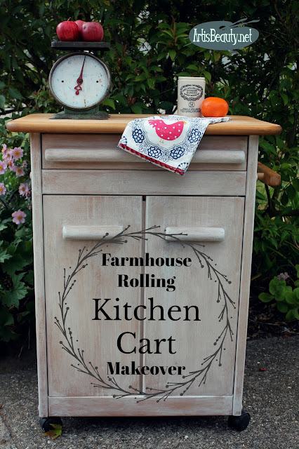 farmhouse Rolling Kitchen Cart makeover vintage effects paint wash farmhouse style diy