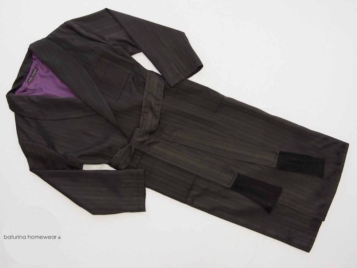 Long Black and Purple Cotton Dressing Gown with Silk Lining for Men