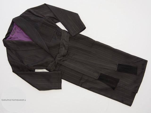 Mens black purple lounge dressing gown silk cotton warm robe de chambre 20th century full length traditional morning housecoat gentlemen.