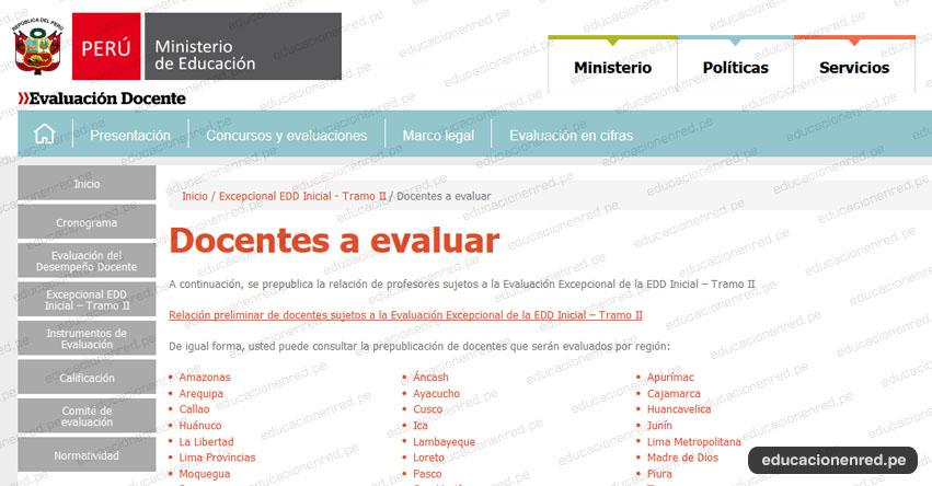 MINEDU: Relación de Docentes a Evaluar - Evaluación Excepcional del Desempeño Docente - Nivel Inicial - Tramo II (7 Junio) www.minedu.gob.pe