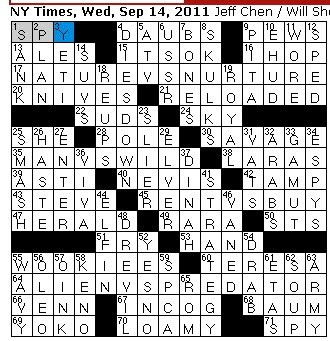 Rex Parker Does The Nyt Crossword Puzzle Young Migratory Fish Wed 9 14 11 2004 Movie Featuring Clash Of Sci Fi Species Discovery Channel Survival Show Chewbacca Kin