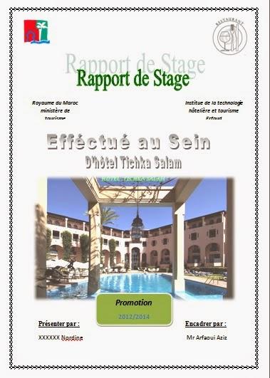 Rapport de stage hotoliere rapport de stage itht for Introduction rapport de stage cuisine