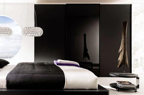 habitación decorada blanco negro