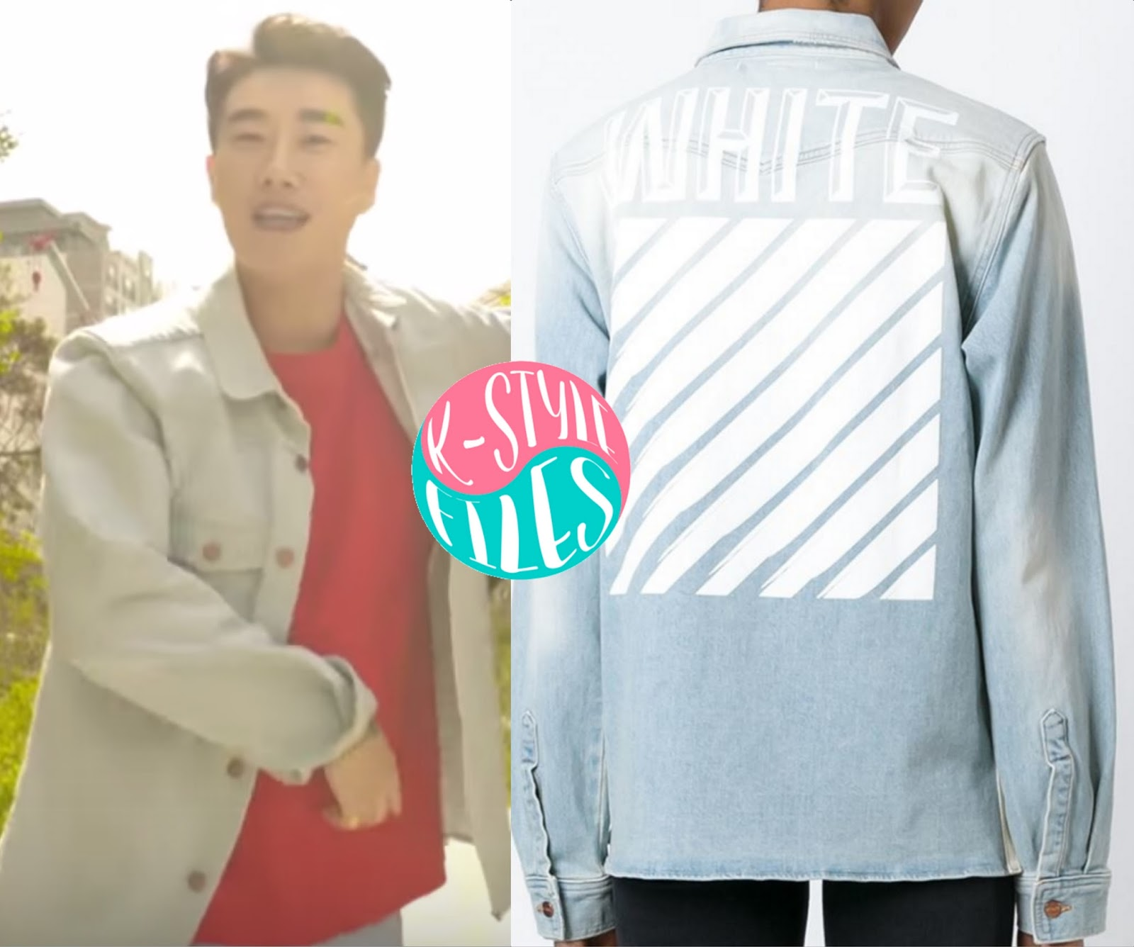 7a060c05d6ec San E is wearing the Blue Washed Stretch-Denim Jacket from Off-White c o Virgil  Abloh