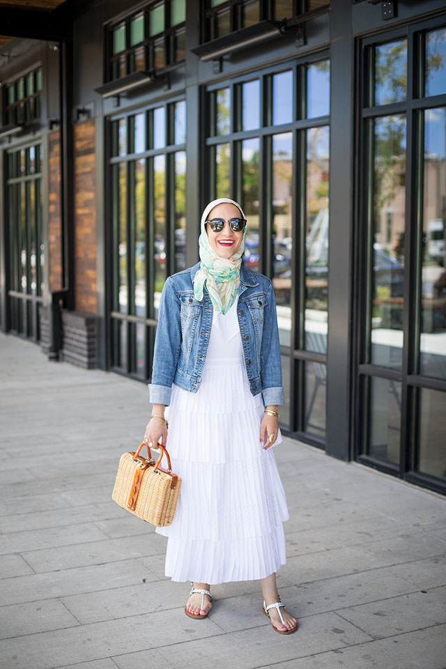 Pleated Midi Dress-Summer Fashion-White Dress-Denim Jacket-Peterson's Snow Balls-Basket Bag-Hijab Fashion