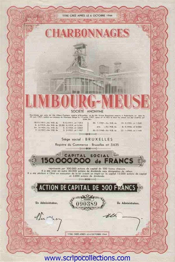 share certificate from Charbonnages de Limbourg-Meuse (steenkool Limburg)