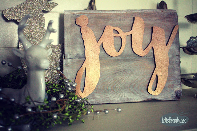 vintage driftwood shiplap copper joy christmas sign diy karin chudy artisbeauty craft airstrike
