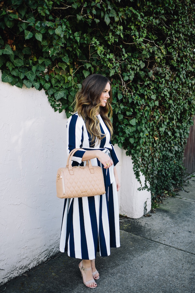 KBStyled: striped dress midi dress stripes bold stripes
