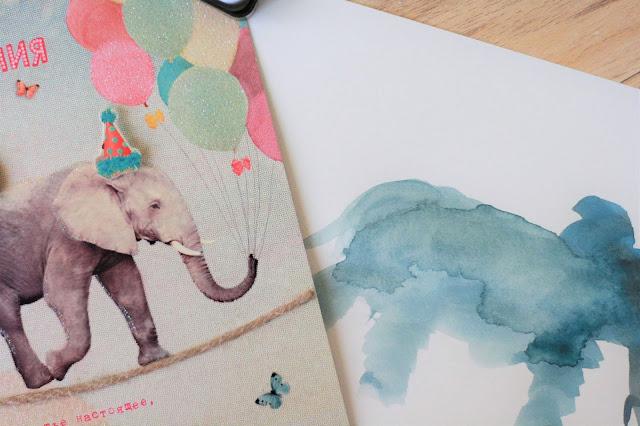 Aquarellbilder: Elefant