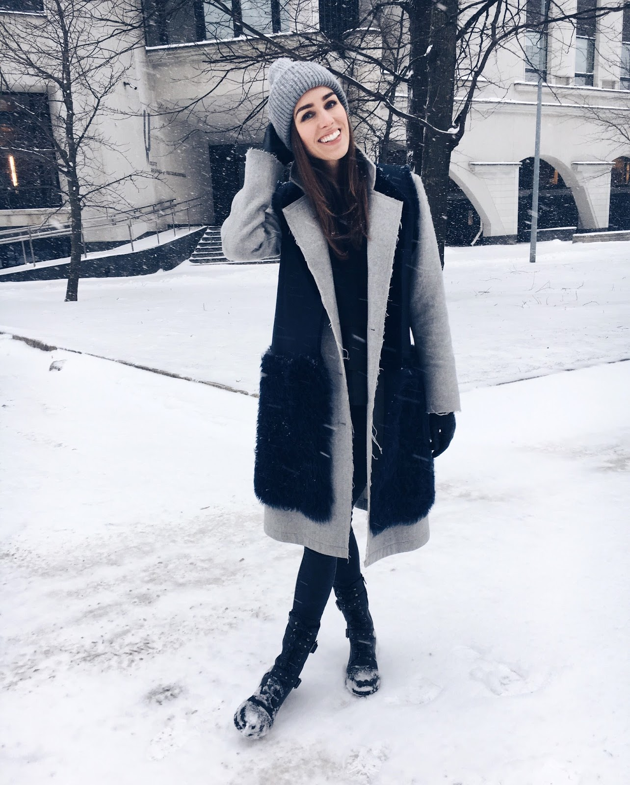 kristjaana mere grey coat beanie winter snow outfit