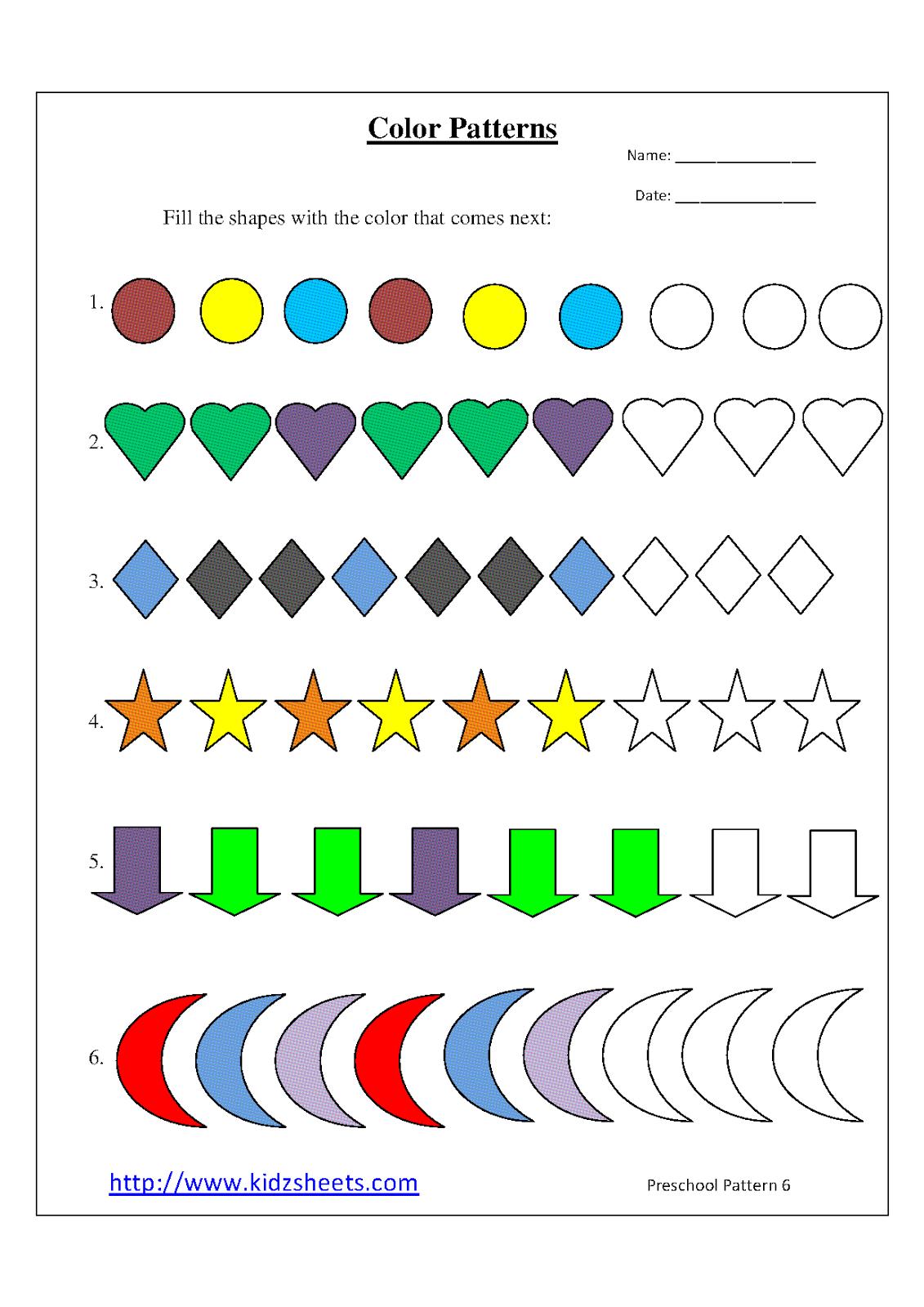 kidz worksheets preschool color patterns worksheet6. Black Bedroom Furniture Sets. Home Design Ideas