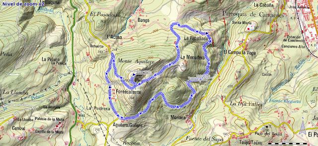 Mapa ruta Pico Prieto en Corvera