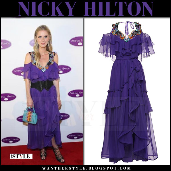 Nicky Hilton in purple chiffon tiered dress alberta ferreti june 14 2017 what she wore