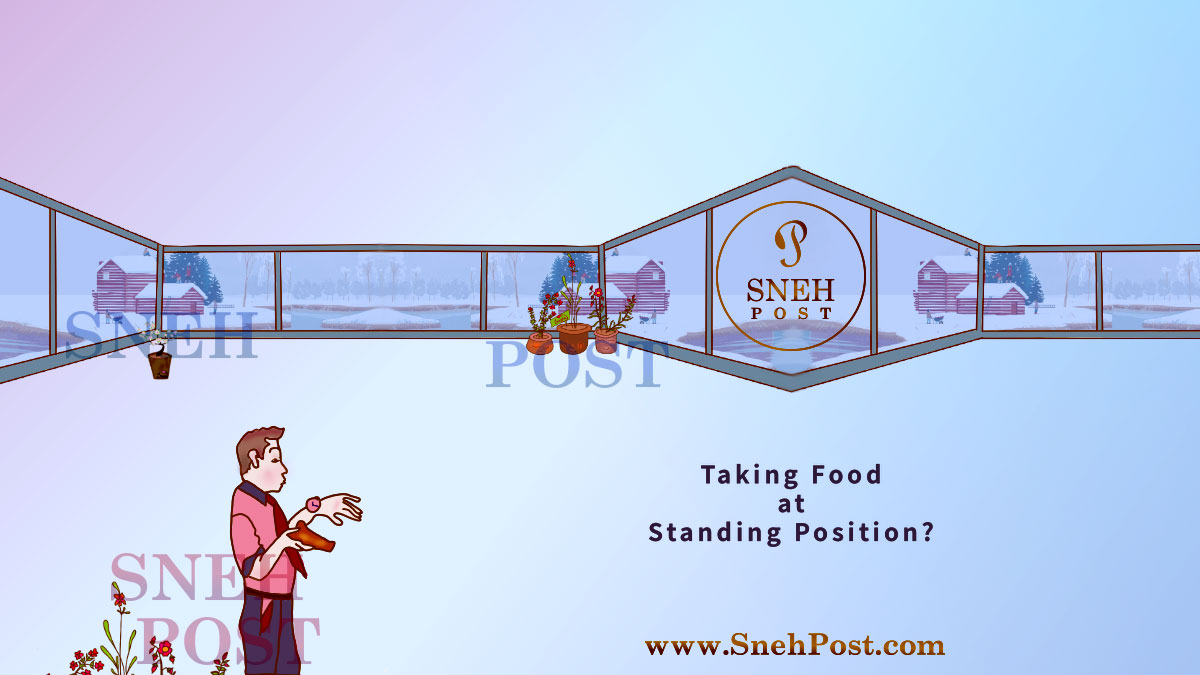 Unhealthy environment and wrong eating position: An illustration of a man eating food in hurry at standing position in a huge hall, watching his wrist-watch while gulping food quickly wearing shirt, paint, and a tie