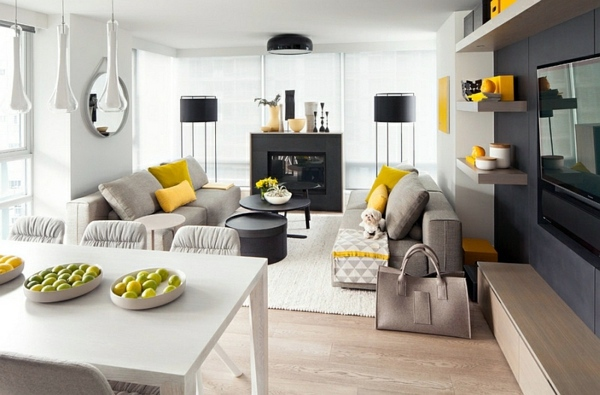 Living Room Color Scheme Gray And Yellow In Lounge Dining