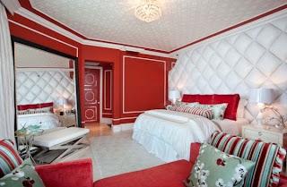 Dormitorio matrimonial rojo blanco
