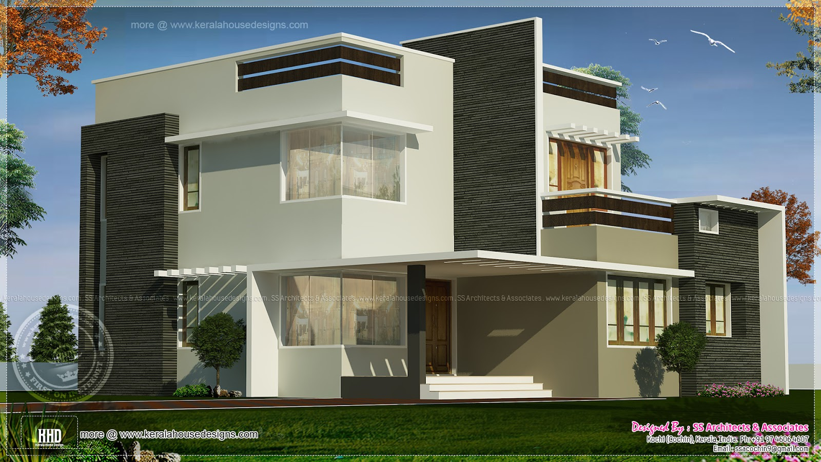 1800 square feet box type exterior home kerala home for Square house design