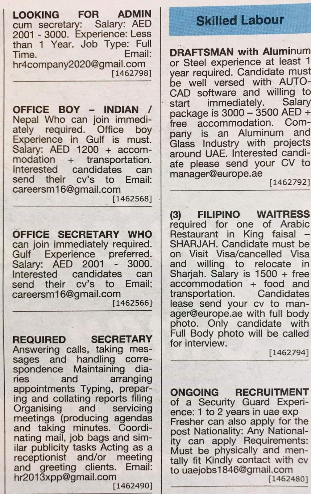 Multiple Jobs in UAE Local Hiring Khaleej Times-UAE-1112914
