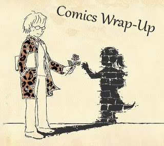 Comics Wrap-Up title image with manga-style woman handing her living shadow a flower