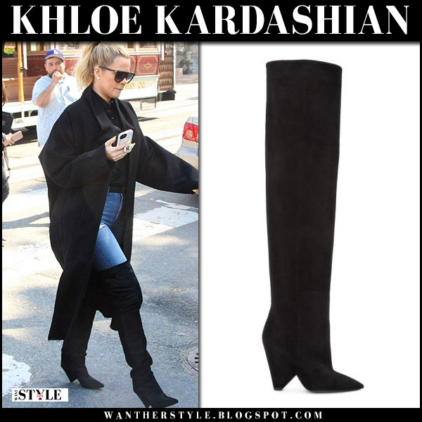 Khloe Kardashian in black over the knee boots saint laurent niki and black coat fall street style baby bump october 13 2017