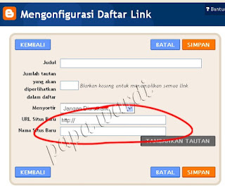 Daftar link, Konfigurasi bar menu di blog