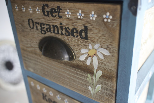 Upcycled drawers, decorated with Folk Art Daisies - learn how with You Can Folk It