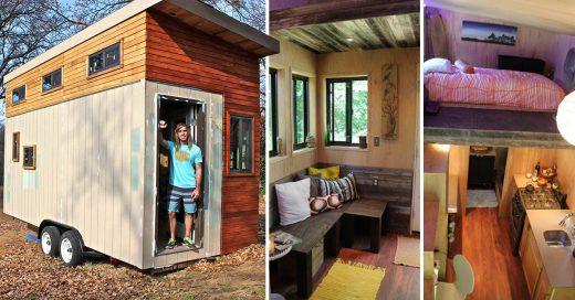 Estudiante construye su propia mini casa y evita deudas