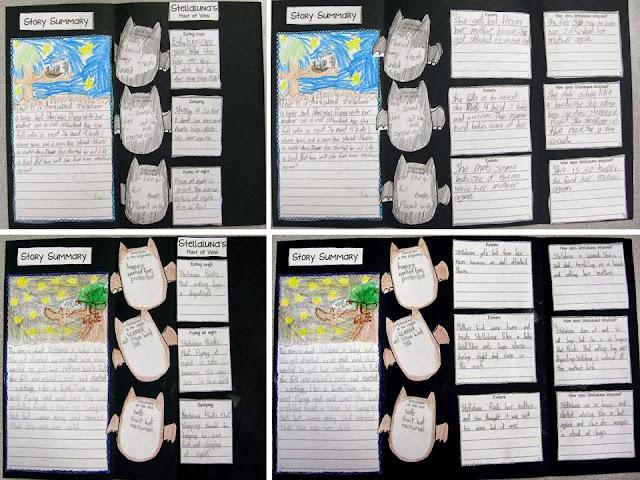 Stellaluna foldable story booklet that addresses standards RL.2.3 RL.2.5 RL.2.6