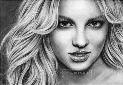 Retratos a lapiz mujeres famosas Britney Spears
